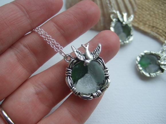 birds nest pendant with sea glass