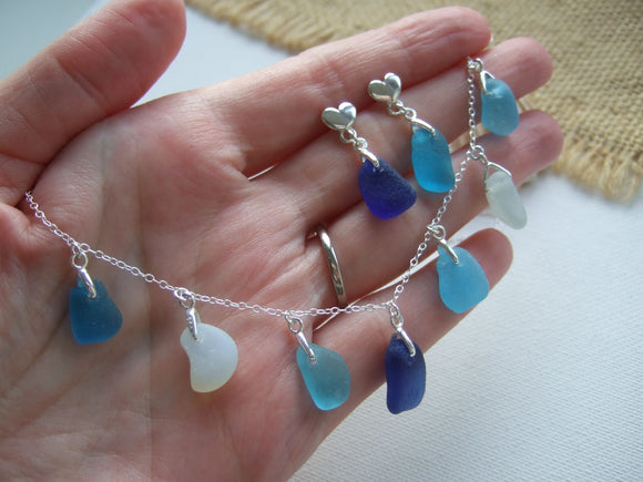 turquoise and blue sea glass necklace and earrings set