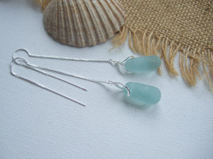 stopper stem earrings seaham sea glass threaders