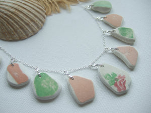 pink green scottish sea pottery necklace