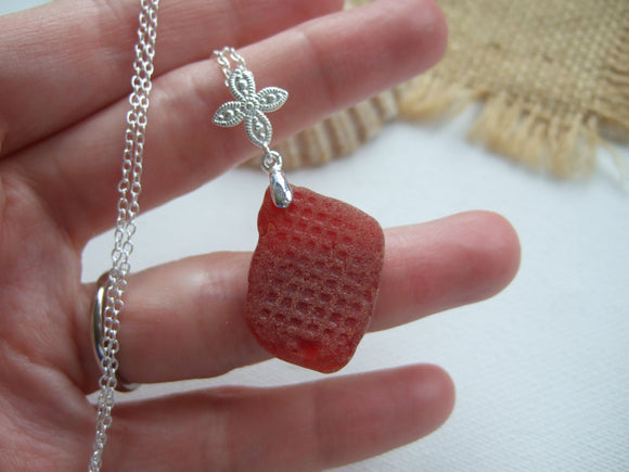 large red scottish sea glass necklace