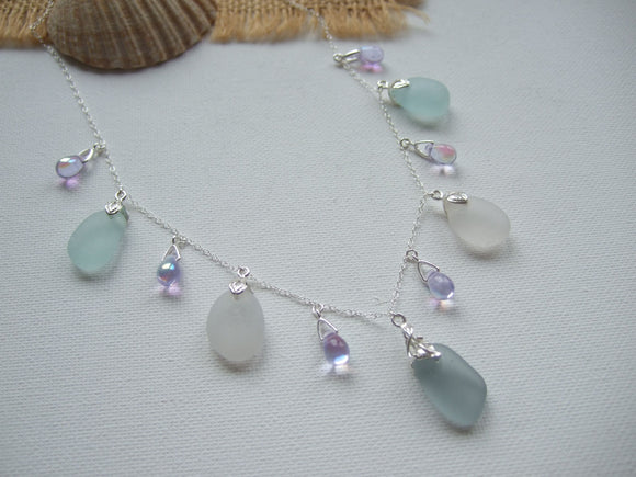 alexandrite bead and grey white sea foam sea glass necklace