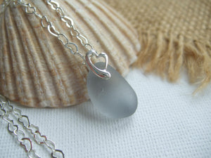 small scottish grey sea glass pendant