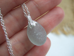 small sea glass pendant in grey