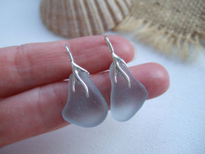 grey lever back coral design sea glass earrings