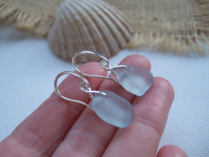 grey sea glass swirl earrings