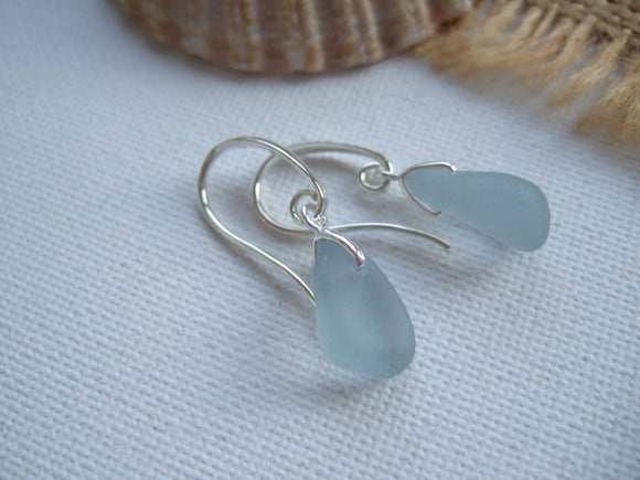 grey seaham sea glass earrings with ocean wave setting