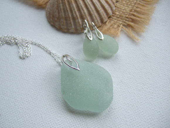 sea glass necklace and earring set lever back