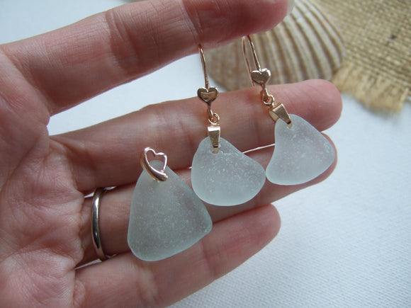sea foam beach glass earrings and necklace rose gold