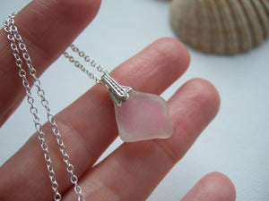 light pink sea glass pendant