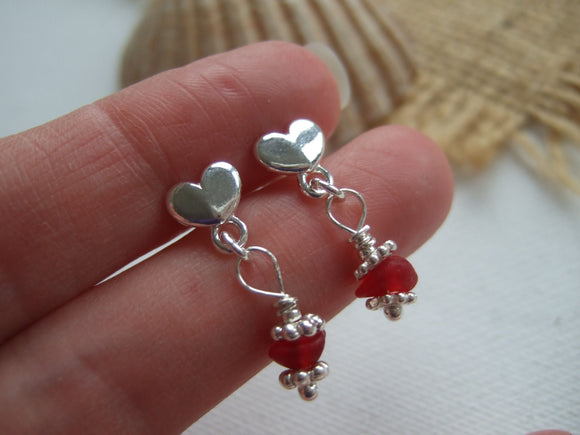 red sea glass heart studs
