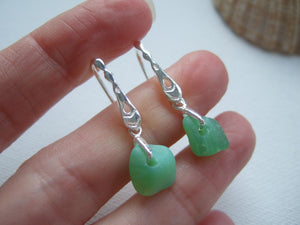 jadeite milk sea glass earrings dangling