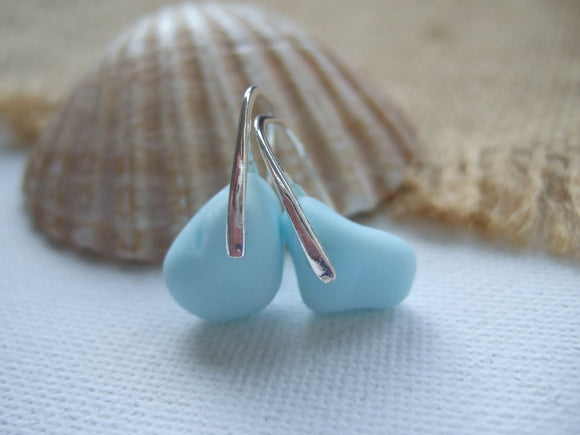 blue milk sea glass earrings