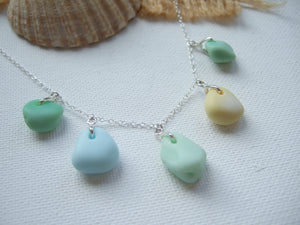 seaham milk sea glass necklace sterling silver