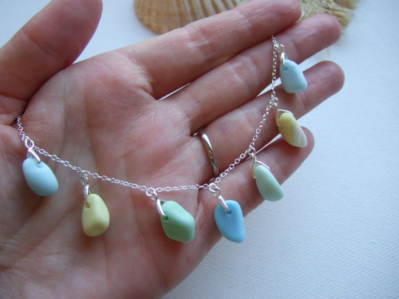 milk sea glass necklace blue green yellow