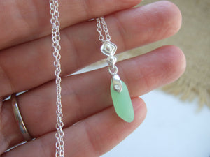 uv beach glass necklace light green