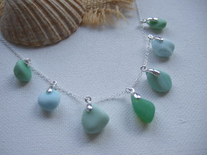 blue and green milk sea glass necklace