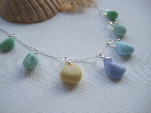 pastel shades necklace with milk sea glass