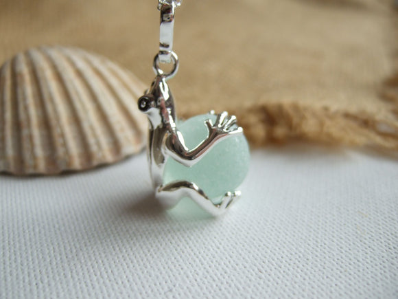 sea glass marble frog locket