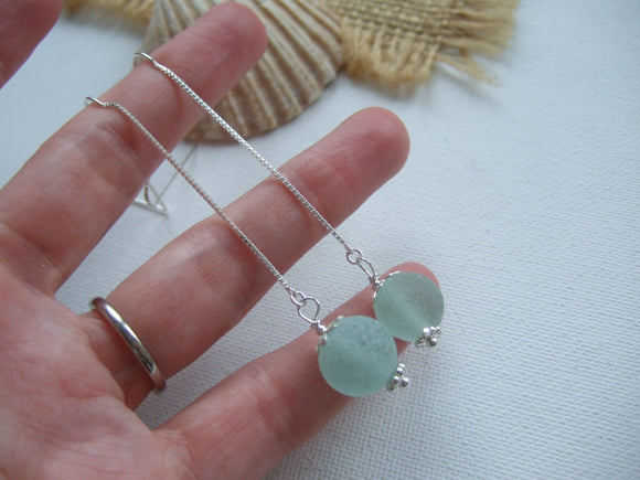 sea glass marble threader earrings
