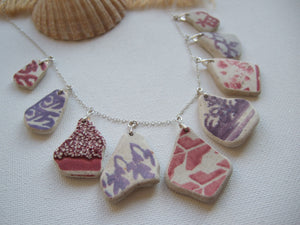 purple red sea pottery necklace