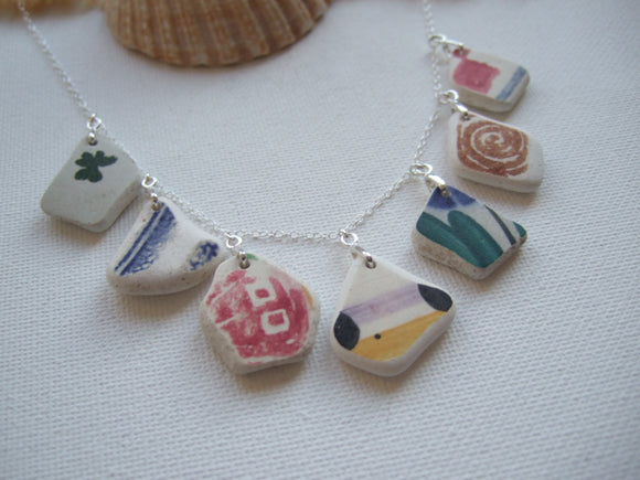 colorful rainbow sea pottery necklace