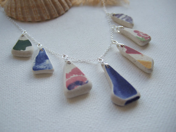 colorful sea pottery necklace sterling silver