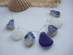 blue white sea glass and sea pottery mix necklace