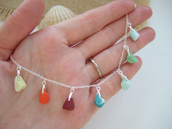 rainbow milk sea glass necklace