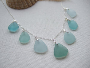 aqua sea glass necklace from japan