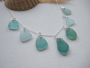 teal sea glass necklace japanese beach glass