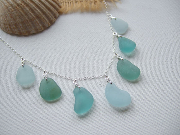 japanese sea glass necklace with multiple pendants