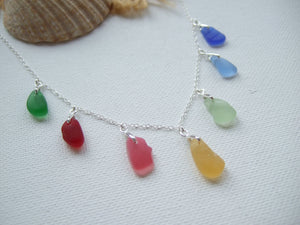colorful rainbow sea glass necklace