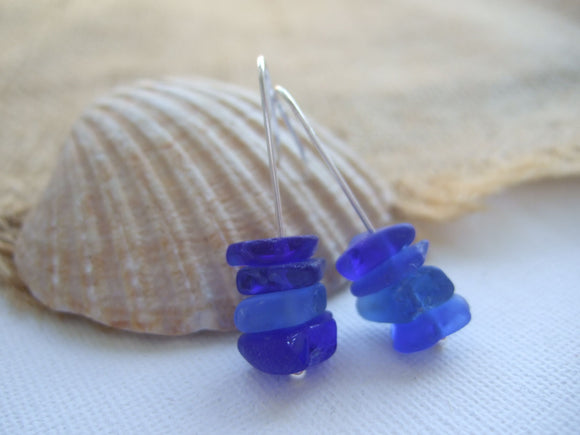 stacker earrings ocean blue sea glass