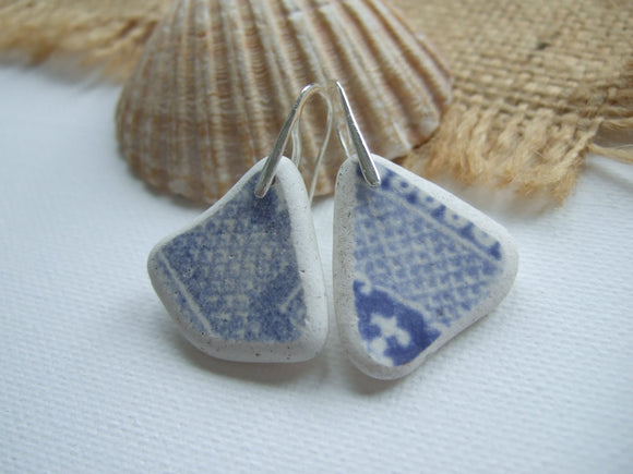 beach found pottery earrings blue