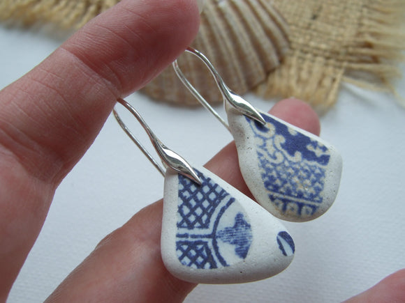 blue willow sea pottery earrings from scotland