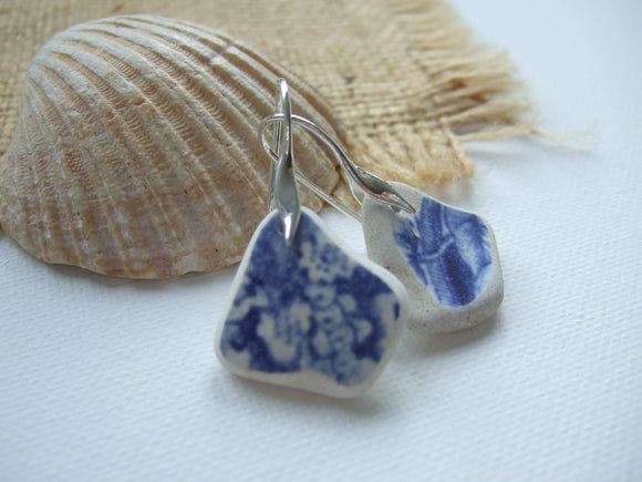 blue scottish sea pottery wave design earrings
