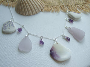 wampum quahog shell sea pottery purple sea glass necklace