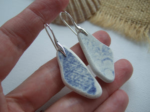scottish sea pottery blue willow earrings