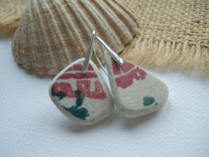 green red spongeware sea pottery earrings