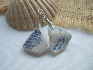 wave pattern sea pottery earrings