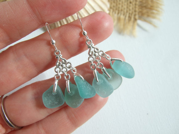 leverback sea pottery dark blue wave design earrings