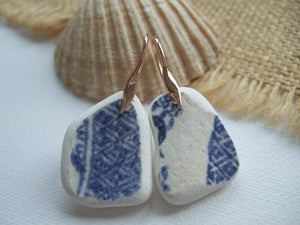 rose gold earrings with blue scottish sea pottery