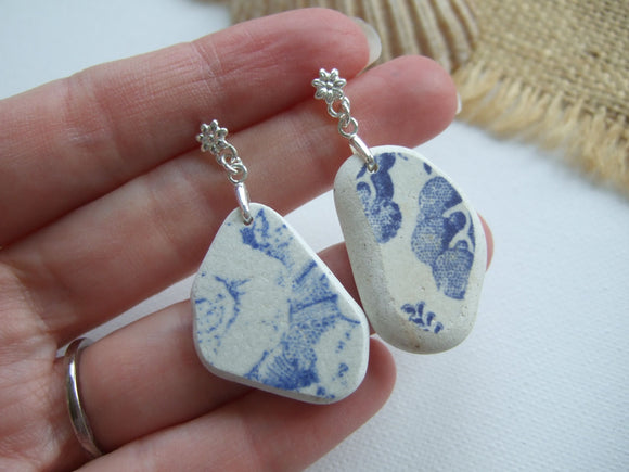 floral sea pottery stud earrings