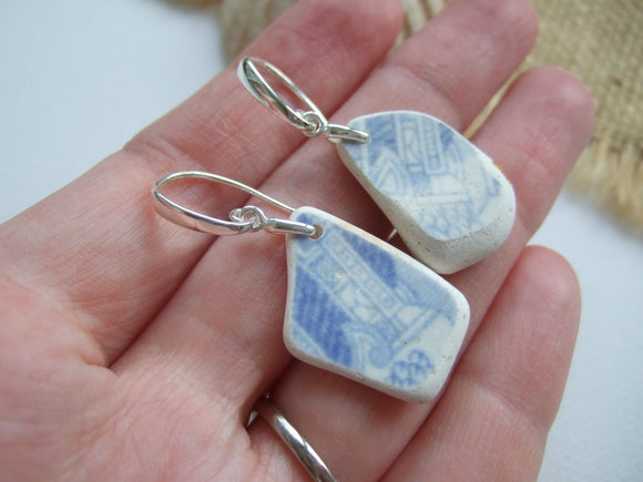 sea pottery with pagoda and column earrings