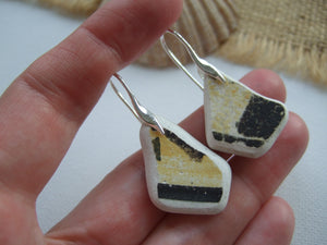 yellow black sea pottery earrings