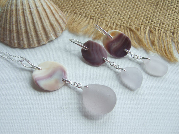 wampum lavender sea glass jewelry set