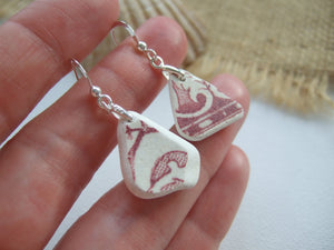 swirl pattern red sea pottery earrings