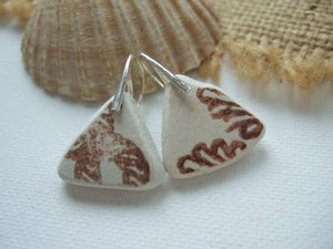 brown sea pottery earrings