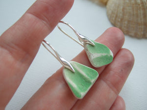 lime green scottish sea pottery earrings